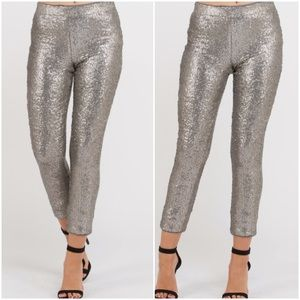 Brynn | Silver Sequin Holiday Skinnies